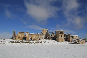 Abandoned village and snow