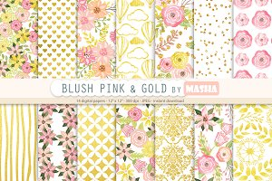 PINK BLUSH AND GOLD  digital papers