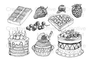 Dessert berry dotwork vector set