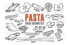 Pasta macaroni hand drawn vector set