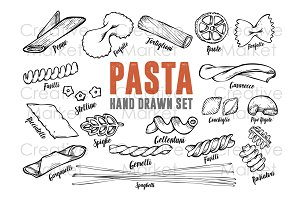 Pasta macaroni hand drawn vector set