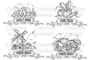 Farmers market logo vector set