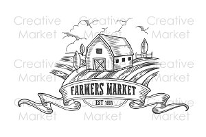Farmers market vintage farm badge