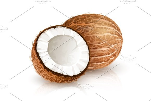 Coconut tropical nut fruit with cut. Eps10 vector illustration isolated white background - Illustrations