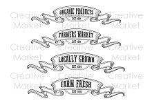 Farmers market emblem ribbon set