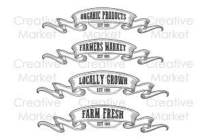 Farmers market emblem ribbon set