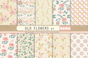 OLD FLOWERS digital papers