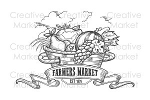 Farmers market vegetable badge.