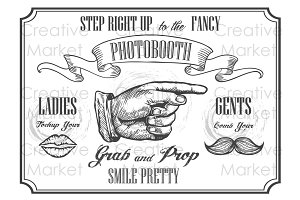 Photobooth vintage pointer sign