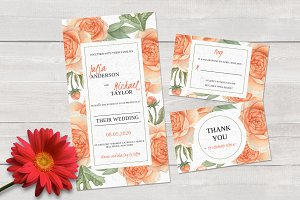 Watercolors Wedding invitation set