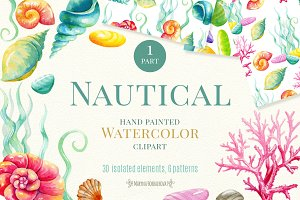 Nautical watercolor clipart. Part 1