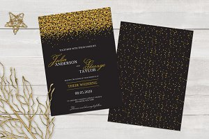 Golden Glitter Wedding Invitation