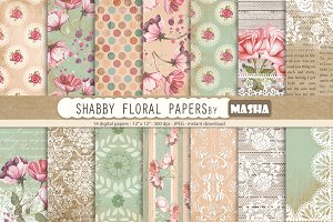 SHABBY FLORAL digital papers