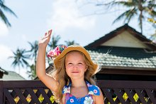Cute lady in sun straw hat.