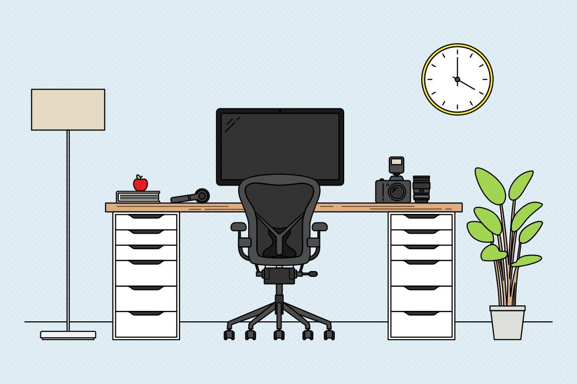 Cassandra cappello graphic design toronto - Vector Desk Scene Creation Kit