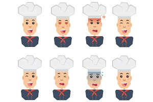 Chef emotions set of flat icons