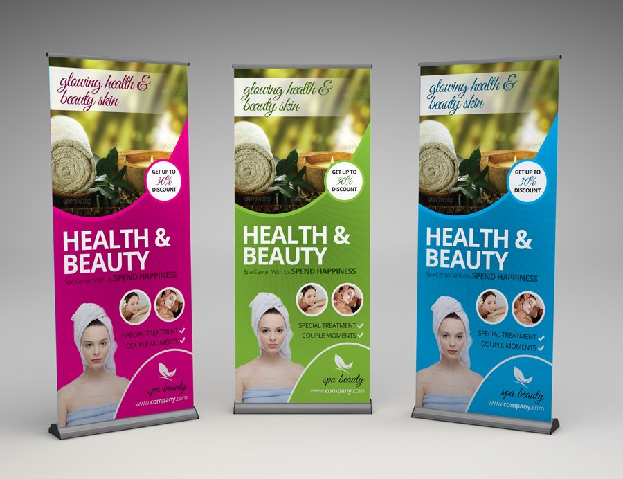 Stand Up Banner Designs : Beauty spa roll up banner templates creative market