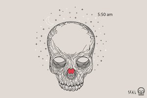 Skull Label Illustration