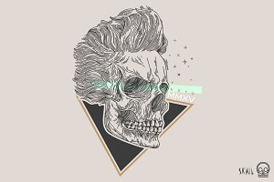 Skull Label - Rock and Roll Skull