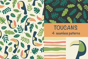 Toucans - seamless patterns