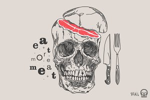Skull Label - Eat More Meat
