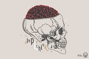 Skull Label - Simple Think