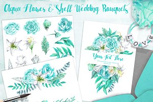 Aqua Flower & Shell Wedding Bouquets