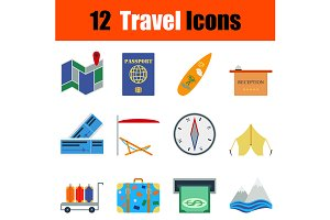 12  Travel flat design icons