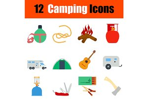 12  Camping flat design icons