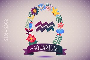 Zodiac sign AQUARIUS - floral wreath