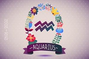 Zodiac sign AQUARIUS - floral wreath