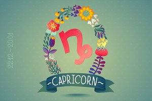 Zodiac sign CAPRICORN-floral wreath