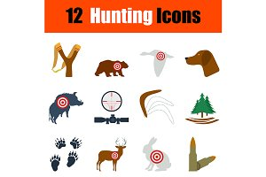 12 hunting flat design icons