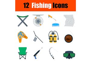 12 fishing flat design icons