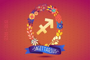 Zodiac sign SAGITTARIUS in wreath