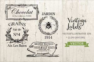 Vintage Antique Labels Set Vector