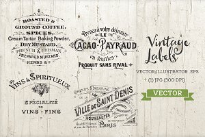 Antique Logo Labels Set Vector