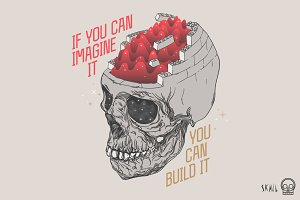 Skull Label - Imagine and Build