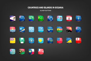 Oceania - glossy buttons with flags