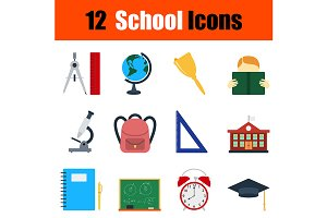 12 education flat design icons