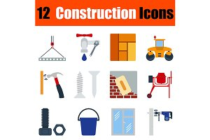 12 construction flat design icons