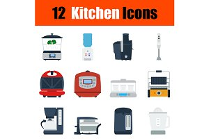 12 kitchen flat design icons