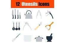 12 utensils flat design icons