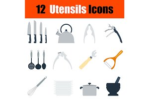 12 utensils flat design icons