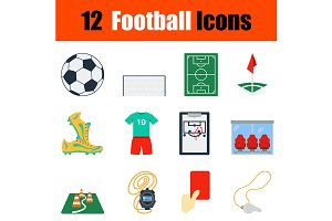 12 football flat design icons