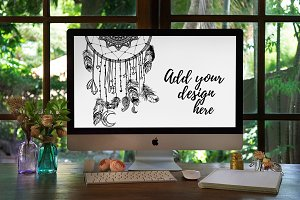 Boho Style iMac PSD Mockup — vol. 1