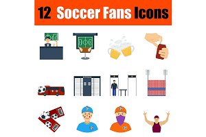 12 football fans flat design icons