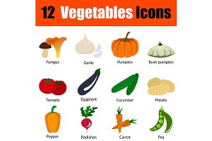 12 vegetables flat design icons