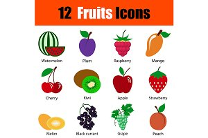 12 fruits flat design icons