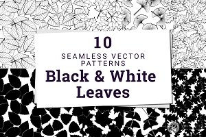 10 Black and White Leaves Patterns